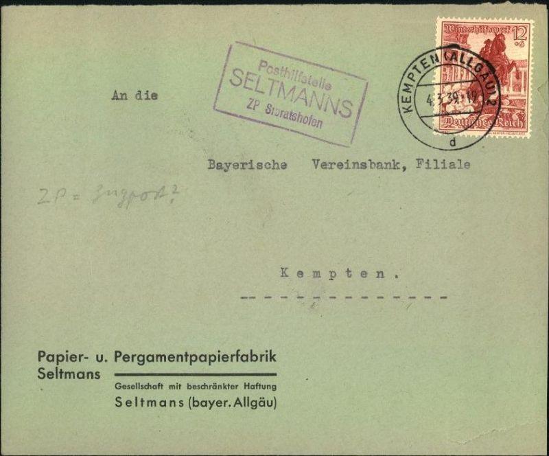 Posthilfstelle Stempel SELTMANNS ZP Sibratshofen 1939