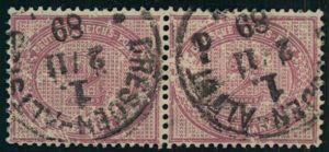 1889, 2 RM trübrosalila im waagerechten Paar, rechte Marke mit Plattenfehler I, dicker Strich über