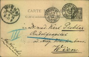 1894, 10 Cent. postcard from CONSTANTINE to Vienna.