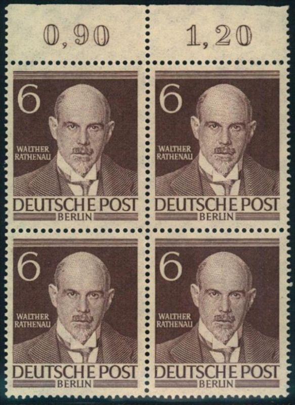 6 Pfg. Männer postfrischer Viererblock vom Oberrand (Mi-Nr. 93)