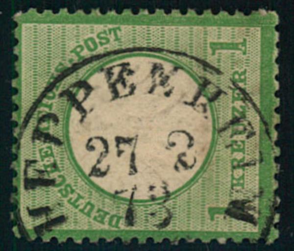 1 Kreuzer großer Brustschild - Mi-Nr. 23a mit Thurn und Taxis-Stempel HEPPENHEIM