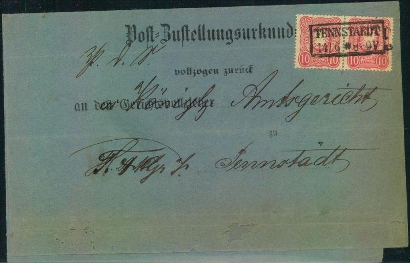1889, Post-Zustellungsurkunde von TENNSTAEDT mit Paar 10 Pfg.