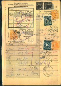 1948, Einlieferungsbuchseite mit aufgeklebtem Einlieferungsschein für 1 Paket und diversen im Buch verklebtem Gebühren.
