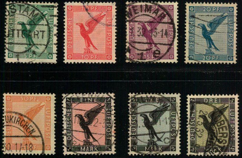 1926, Flugpostmarken komplett gestempelt. (Michel 170,-)