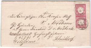 1872, portopflichtige Dienstsache mit senkrechtem Prachtpaar 1 Groschen großer Brustschild entwertet BERLIN P.A. 46 (KBH