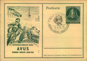 10 Pfg. Glockenganzsachenkarte zum INTERNATIONALEN DMV-AVUSRENNEN 1952 blanko mit Sonderstempel BERLIN-SCHÖNEBERG MODELL