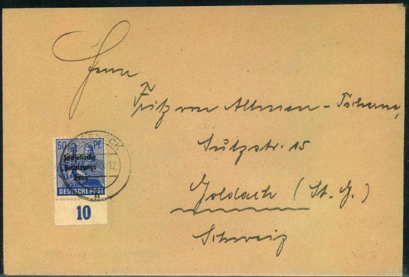 1949 Brief Mit 50 Pfg Arbeiter Maschinenaufdruck Vom Unterrand Ab