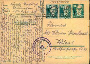 1949, 10 Pfg. Bebel Ganzsachenkarte mit bildgleicher Zusatzfrankatur von 2-mal 10 Pfg. ab ERFURT nach Wien. Mit Österrei