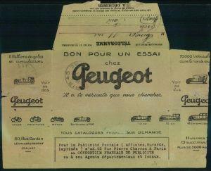 1932, advertising covers, lettre publicite, Reklame, Werbung, Auto,Peugeot, Telegramme