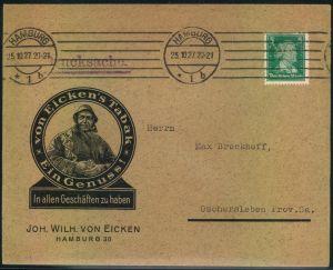 1927, advertising covers, lettre publicite, Reklame, Werbung, Tabak, Hamburg