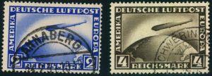 1928, 2 und 4 RM Zeppelin gestempelt (Mi-Nr. 423/424 - 110,-)