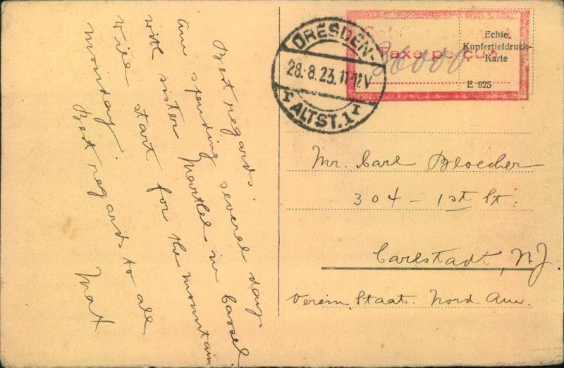 1923, Postkarte ab DRESDEN ALTST. 1  28.8.23 nach USA