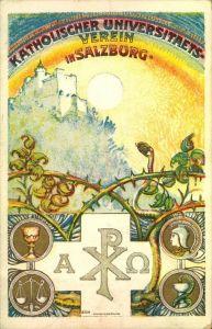 1921, Festpostkarte KATHOLISCHER UNIVERSITAETS-VEREIN SALZBURG