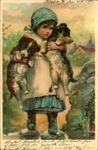 BERLIN 1899, Paketfahrt, Aquarell Postkarte, Mädchen mit zwei Hunden, Kinder ,Tiere