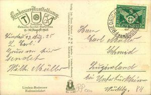 1924, 5 Pfg. Verkehrsausstellung auf Postkarte zur Lindauer Ausstellung ab FRIEDRICHSHAFEN