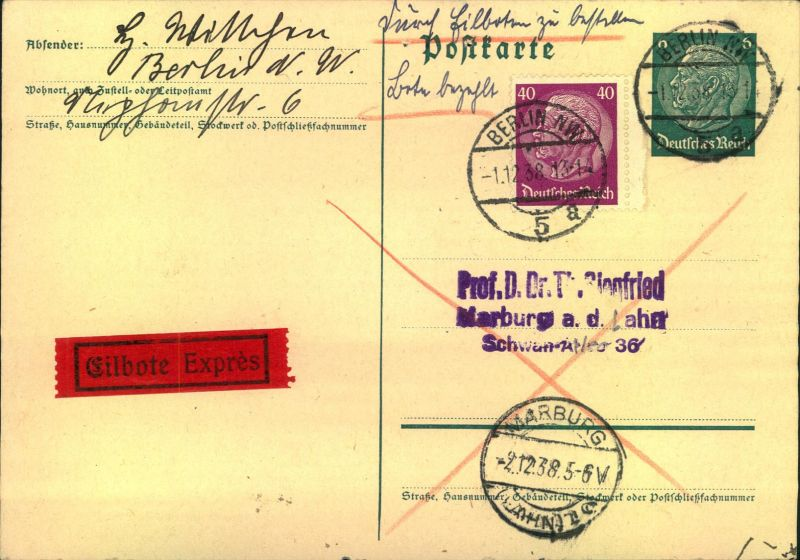 1938, Eilbotenkarte mit Hindenburgfrankatur ab BERLIN NW 8 nach Marburg.