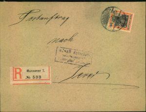 1911, Postauftrag mit EF 30 Pfg. Germania ab HANNOVER nach Jever.