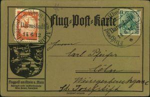 1912, Fluugpost Rhein-Main, SSt DARMSTADT 14.6.12, 10 Pfg. Flugpostmarke mit üblicher 5 Pfg. Germania