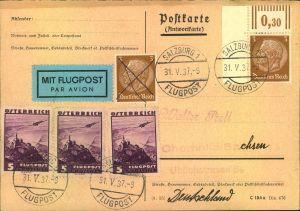 1937, Antwortkarte per Luftpost ab SALZBURG mit Deutscher und Österreichischer MiF.