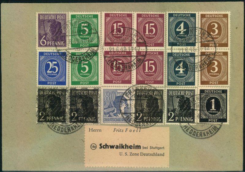 1948, hochfrankierter Brief mit Ziffern und Arbeiter ab FRANKFURT HEDDERHEIM vom 21.6.48, dem ersten Tag Zehnfachfrankat