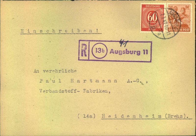1947, Einschreiben mit violettem R-Stempel (13b) Augsburg 11