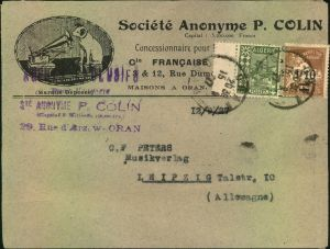 1927, advertising covers, lettre publicite, Reklame, Werbung, Grammophone, ORAN, Algerie