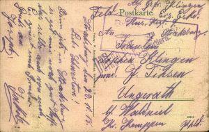 1918, Feldpostkarte aus Strasburg nch Ungerath b. Walsniel mit seltener Zensur