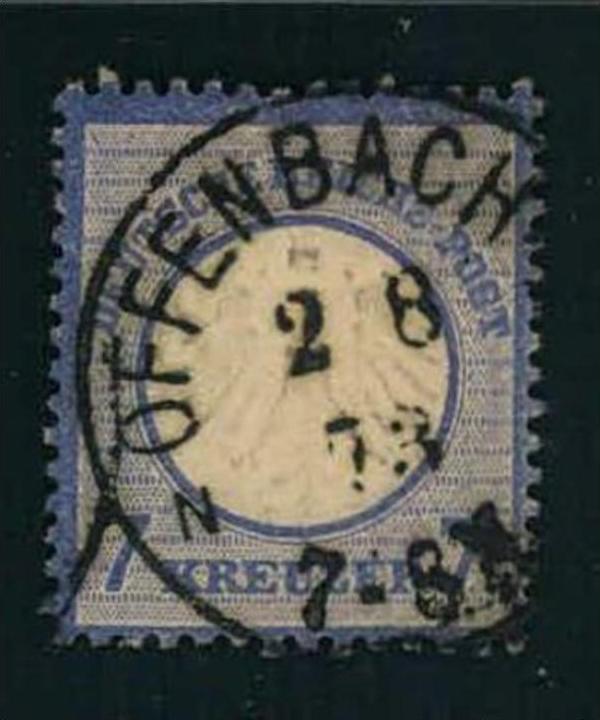 1873, 7 Kreuzer kleiner Brustschild glasklar gestempelt OFFENBACH. Siehe Bild (120,-)