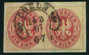 1867, 1 Sgr. Wappen in waagerecHten Paar mit Hufeisenstempel CÖLN auf Briefstück.
