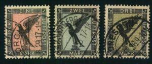 1926, Höchstwerte 1,2 und 3 RM Flugpost Steinadler gestempelt (Mi 158,-)