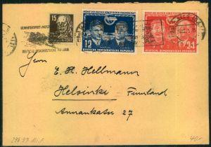 1951, Auslandsbrief (+1 Pfg. ) mit SSt HALLE (SAALE) Wintersportmeisterschaften nach Finnland.