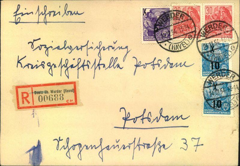 1954, Einschreiben mit Fünfjahresplan ab WERDER (HAVEL). Leih-R-Zettel von