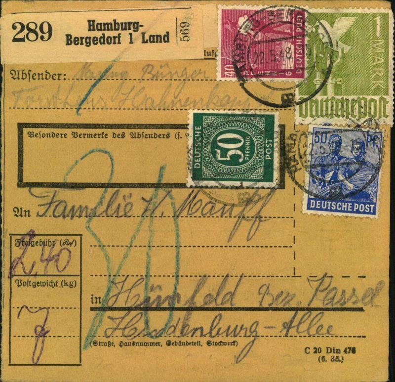 1948, Paketkartenstammteil mit Ziffern und Arbeiter-Frankatur ab HAMBURG BERGEDORF LAND. 1 Mark wegen Randklebung etwas