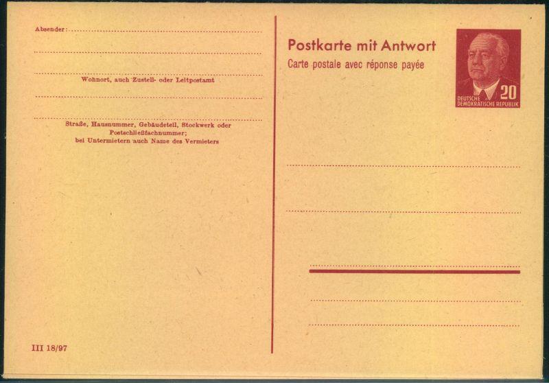 Doppelkarte 15 Pfg. Pieck (DV III 18/97) sauber ungebraucht.