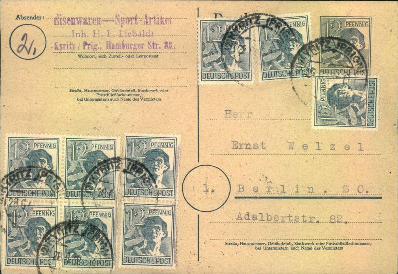 1948, 12 Pfg. Arbeiter Ganzsachenkarte mit bild- und wertgleicher Zehnfachfrankatur ab KYRITZ