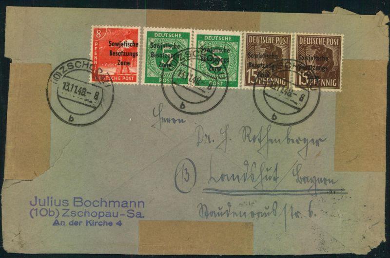 1948, Doppelbrief mit Maschinenaufdruck, Arbeiter und Ziffer ab (10) ZSCHOPAU