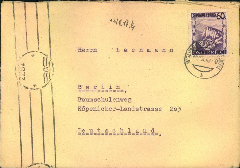 1947 60 Gr Landschaften Auf Brief Mit Britischer Zensur Zzbz Ab