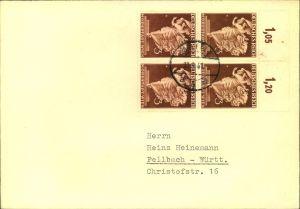 1941, dekorativer Brief mit Oberrand Viererblock 3 Pfg. Wiener Messe