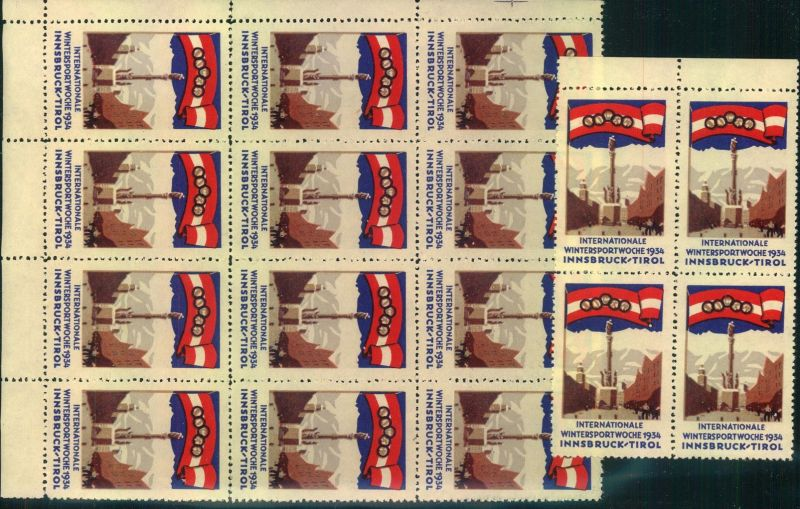 1934, INTERNATIONALE WINTERSPORTWOCHE INNSBRUCK-TIROL, 16 Vignetten postfrisch, mnh 0