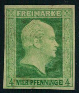 1858, 4 Pfg. Friedrich Wilhelm ungebraucht mit großen Teilen Originalgummi.