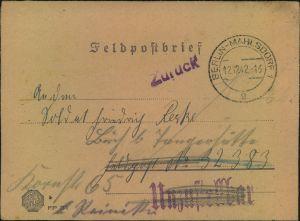 1942, Feldpostbrief an FP-Nummer 32383 ab BERLIN-MAHLSDORF 12.12.42 als