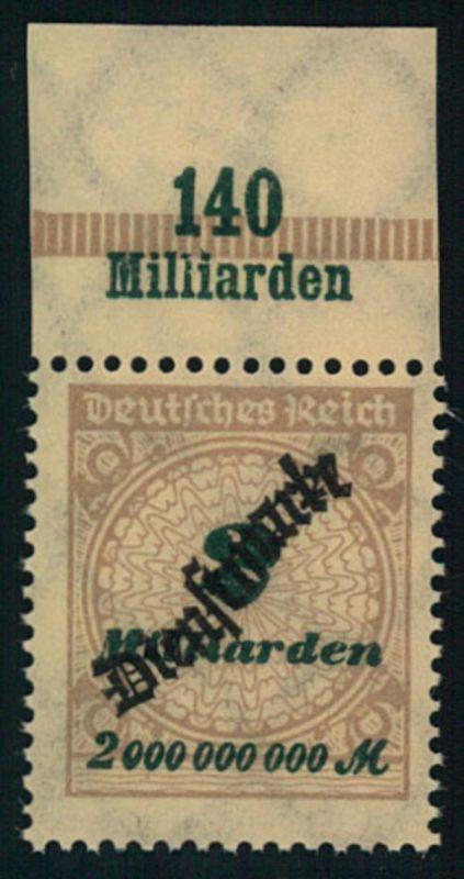 1923, 2 Mia Schlangenaufdruck postfrisch vom Oberrand.