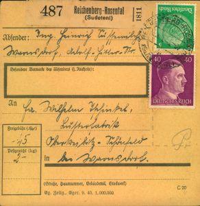 1942, Paketkartenstammteil ab REICHENBERG-ROSENTHAL