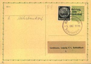 1938, Tschechische Mitläuferkarte mit 1 Pfg. Hindenburg