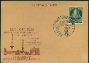 1953, 10 Pfg. Glocke Mitte auf FDC mit SST BERLIN-CHARLOTTENBURG BEVERBA 9.10.53
