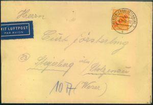 1949, portorichtiger Luftpostbrief mmit EF 25 Pfg. Rotaufdruck ab (1) BERLIN-CHARLOTTENBURG 2
