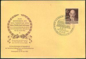 1953, 6 Pfg. Rathenau auf amtlichem Ersttagsbrief