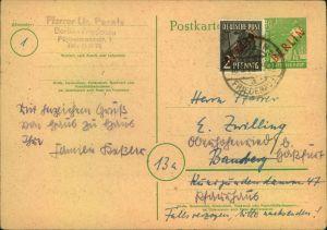 1949, 20 Pfg. Rotaufdruckkarte mit 2 Pfg. RA als Zusatzfrankatur ab BERLIN-FRIEDENAU