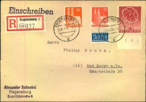 1950, 20 Pfg. ERP mit Zusatzfrankatur auf Einschreiben ab REGENSBURG