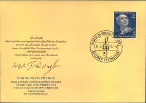 1955, Berlin Mi-Nr. 128, FÜRTWÄNGLER, amtlicher FDC, BERLIN-CHARLOTTENBURG, BERLINER FESTWOCHEN